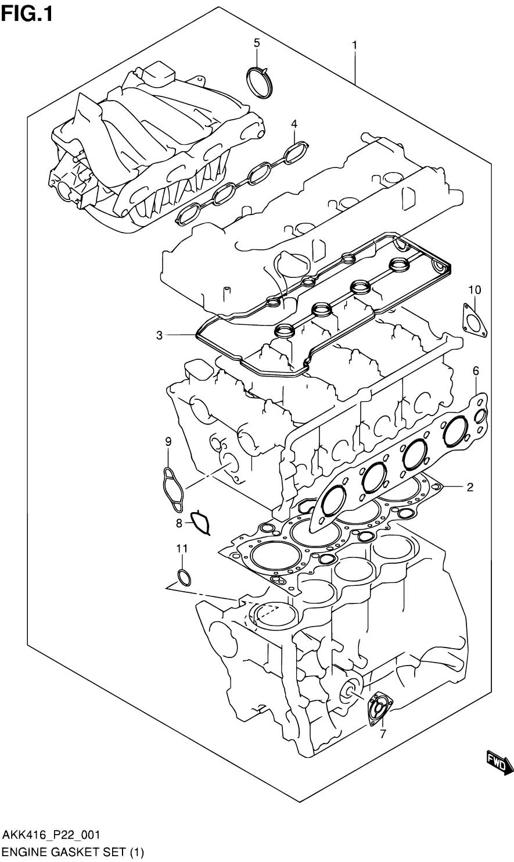 1 - комплект прокладок двигателя (M16A)