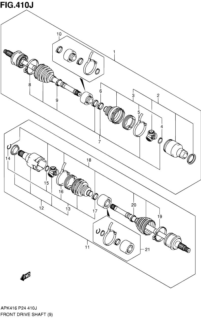 410J - ПЕРЕДНИЙ ПРИВОДНОЙ ВАЛ (4WD 6AT M16A)