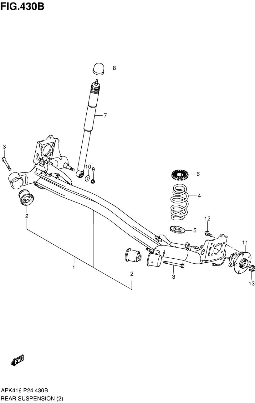 430B - ЗАДНЯЯ ПОДВЕСКА (4WD)