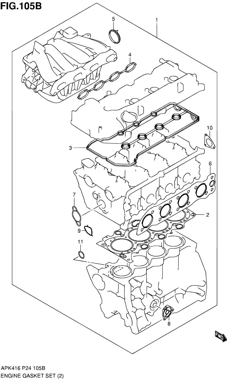 105B - Комплект прокладок двигателя (M16A)