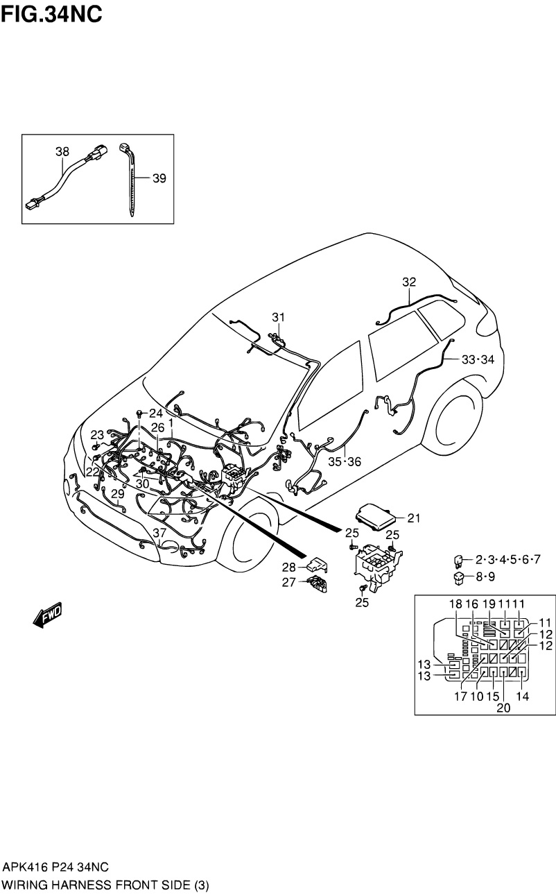 34NC - WIRING HARNESS FRONT SIDE (M16A LHD)
