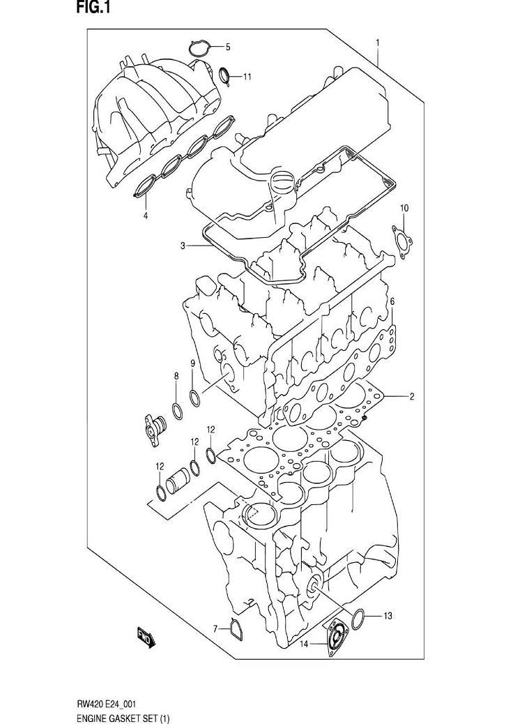 1 - Комплект прокладок двигателя RW416 (TYPE 1,2,3:M15A,M16A,W/VVT)