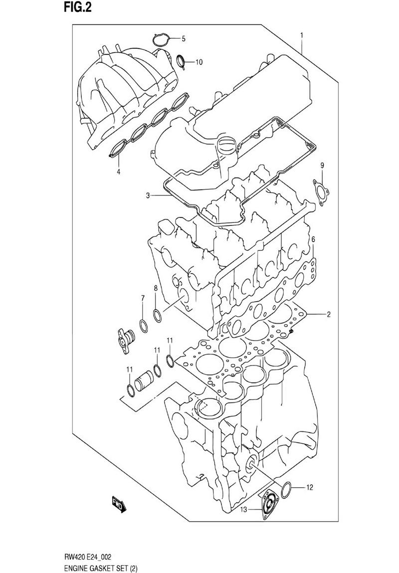 2 - Комплект прокладок двигателя RW416 (TYPE 1,3:M16A,N/VVT)