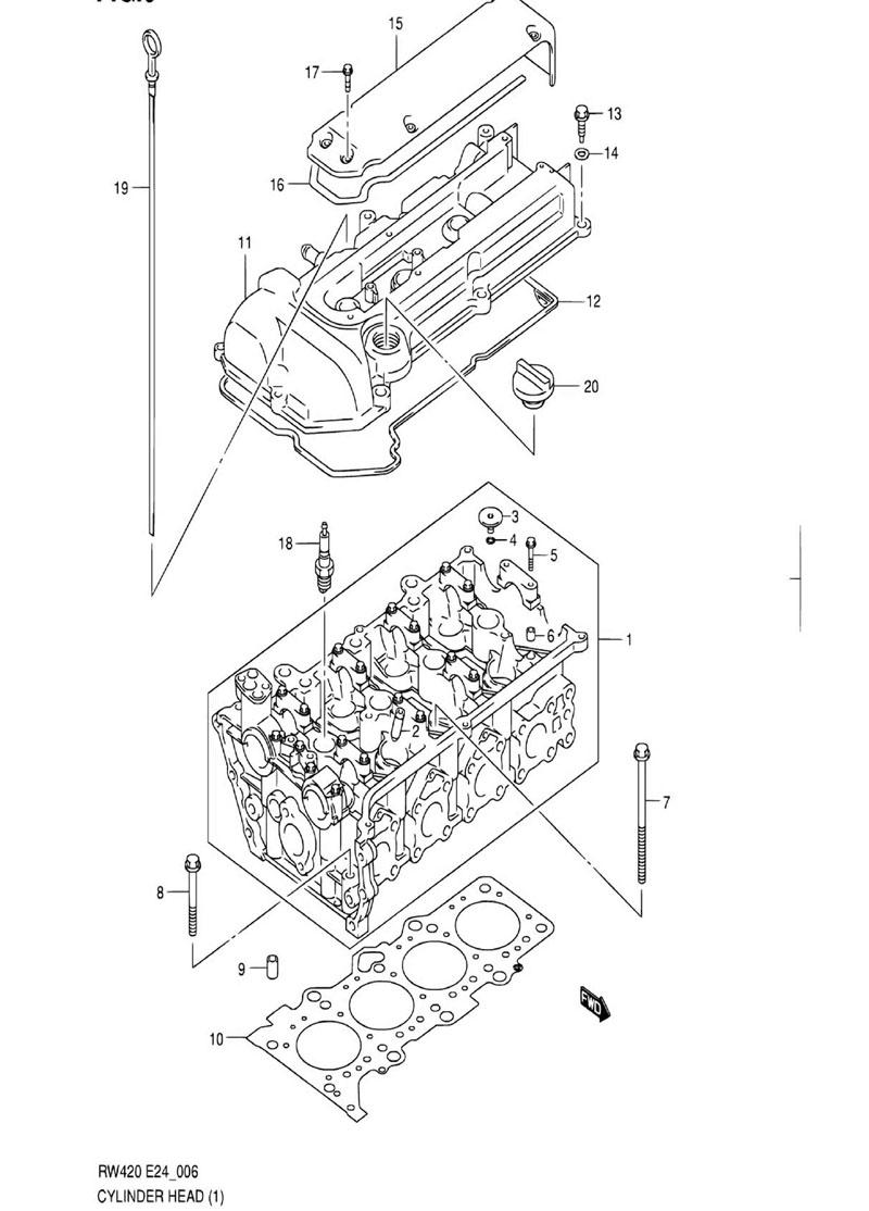 6 - Головка цилиндров RW416 (TYPE 1,2,3:M15A,M16A:W/VVT)