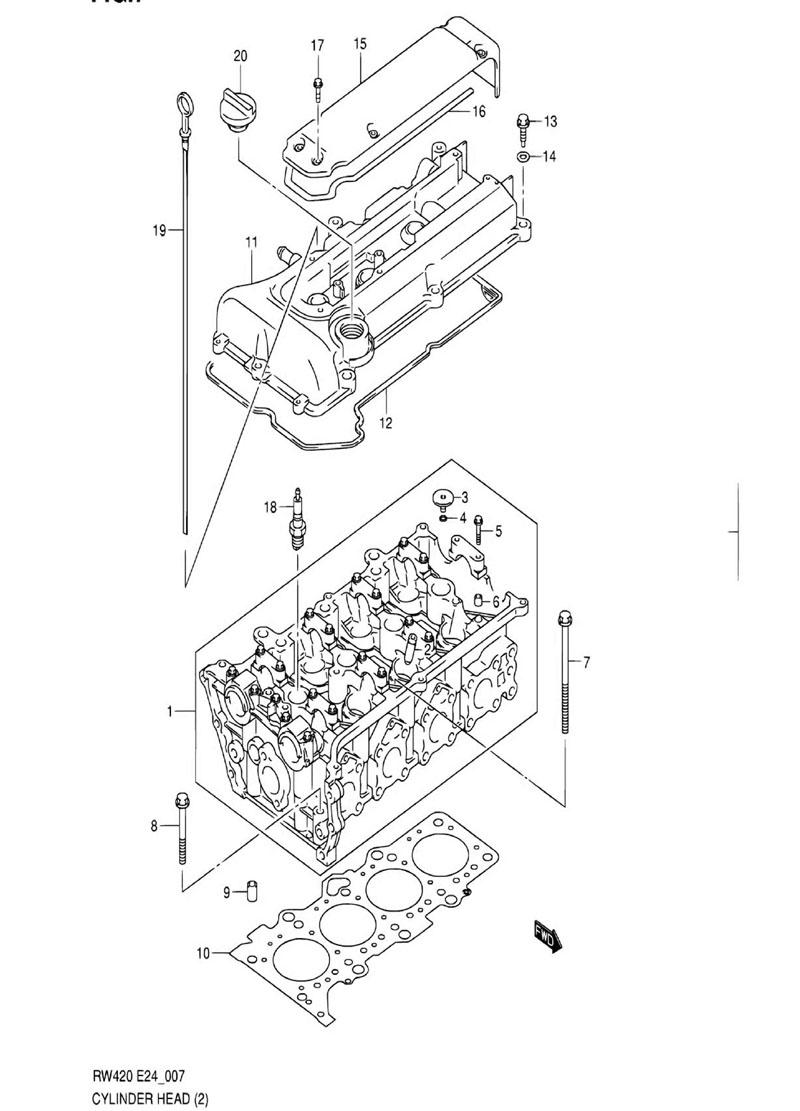 7 - Головка цилиндров RW416 (TYPE 1,3:M16A:N/VVT)