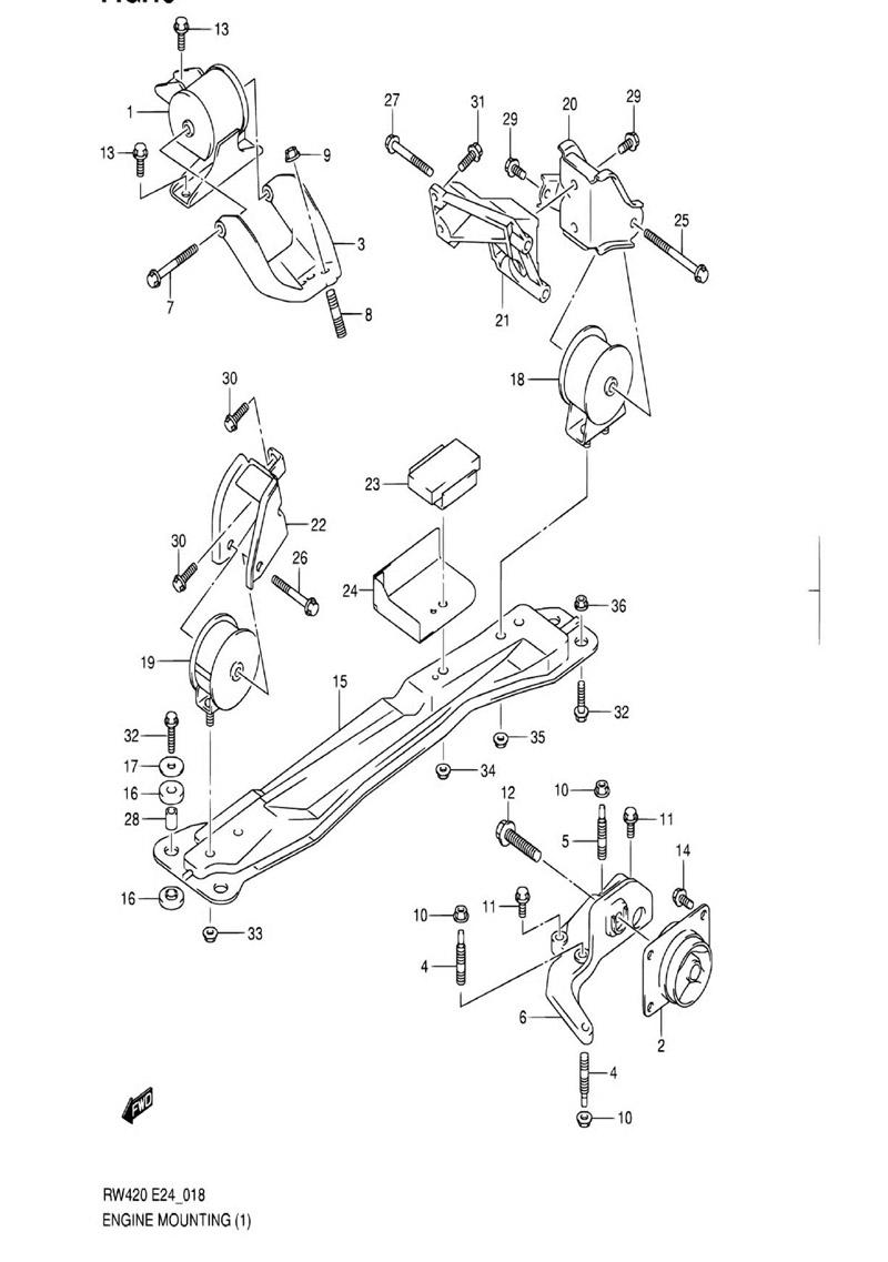18 - Опора двигателя RW416 (M15A,M16A:2WD:AT)