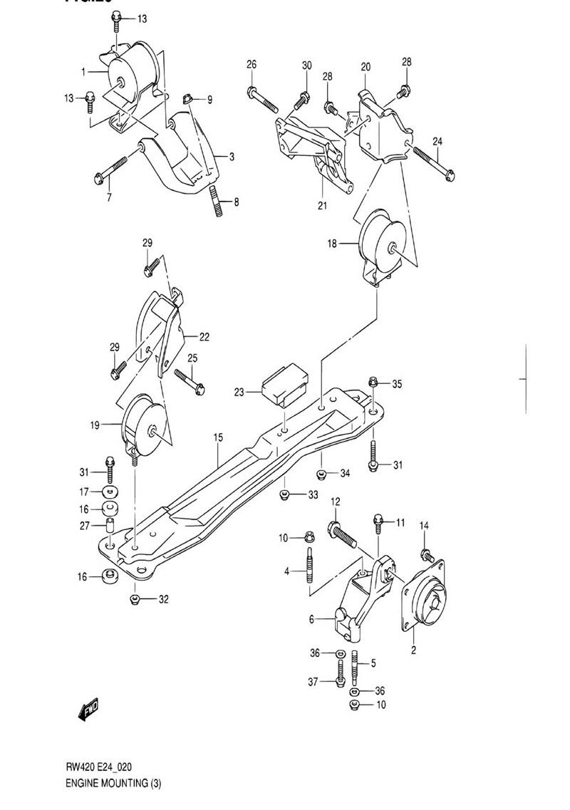 20 - Опора двигателя RW416 (M16A:2WD:MT)