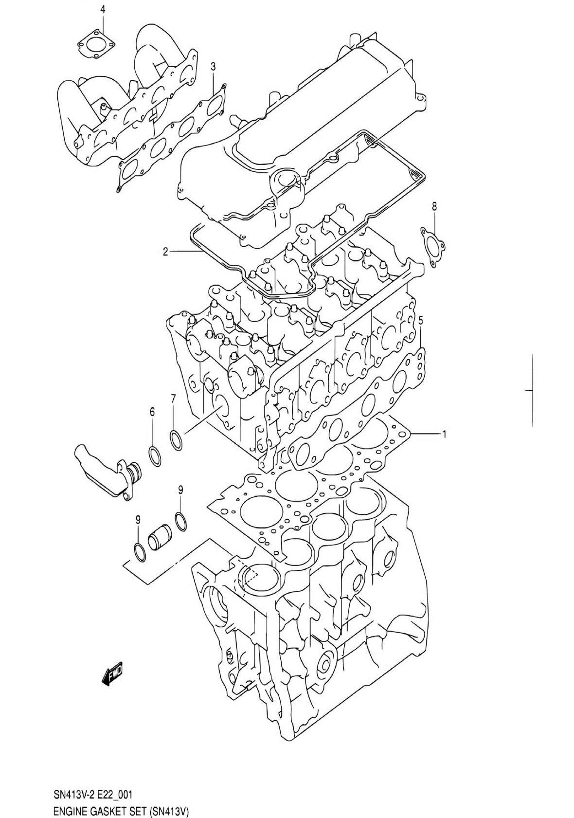 1 - Комплект прокладок двигателя (SN413V-2)