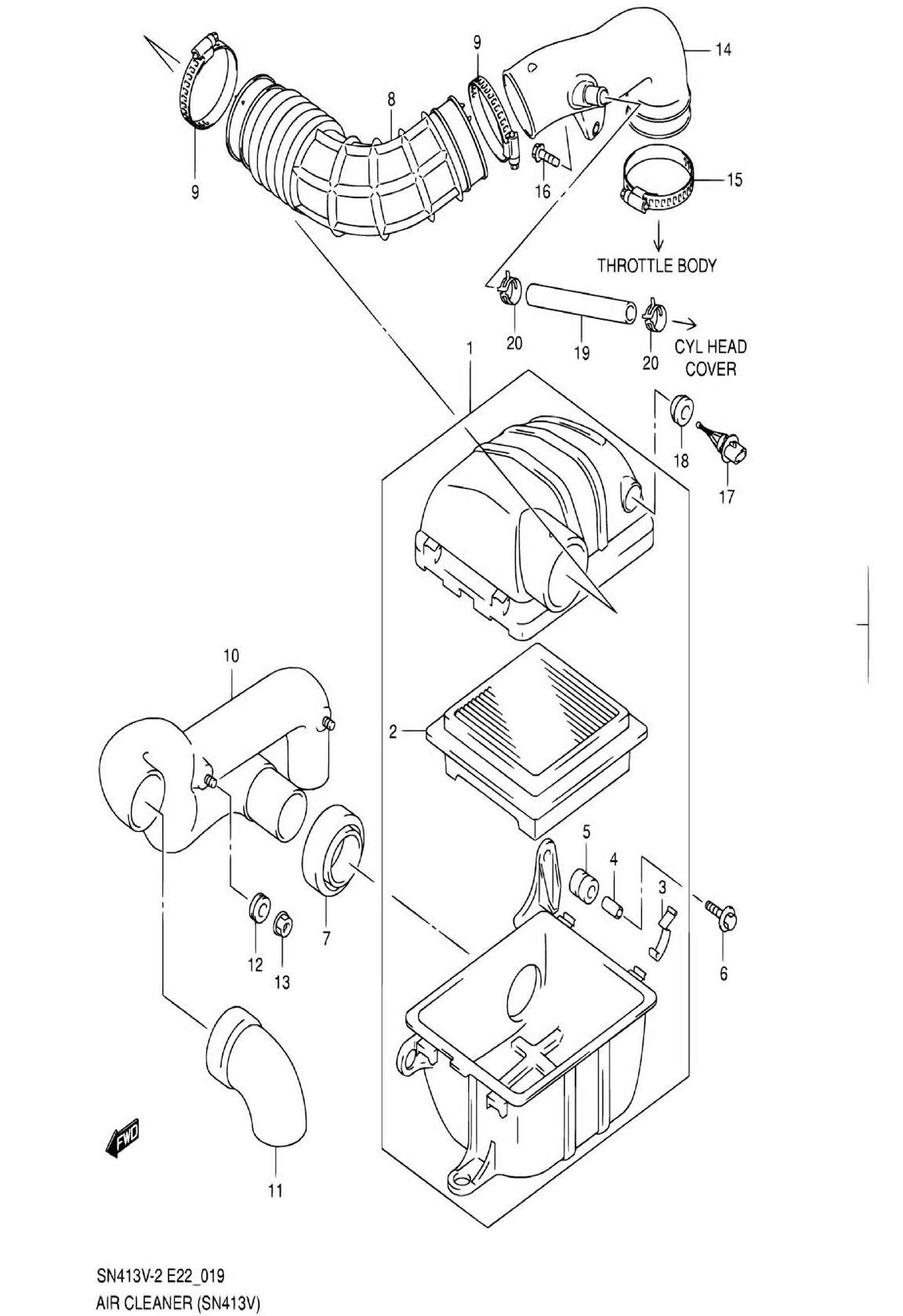 19 - Воздушный фильтр (SN413V-3)