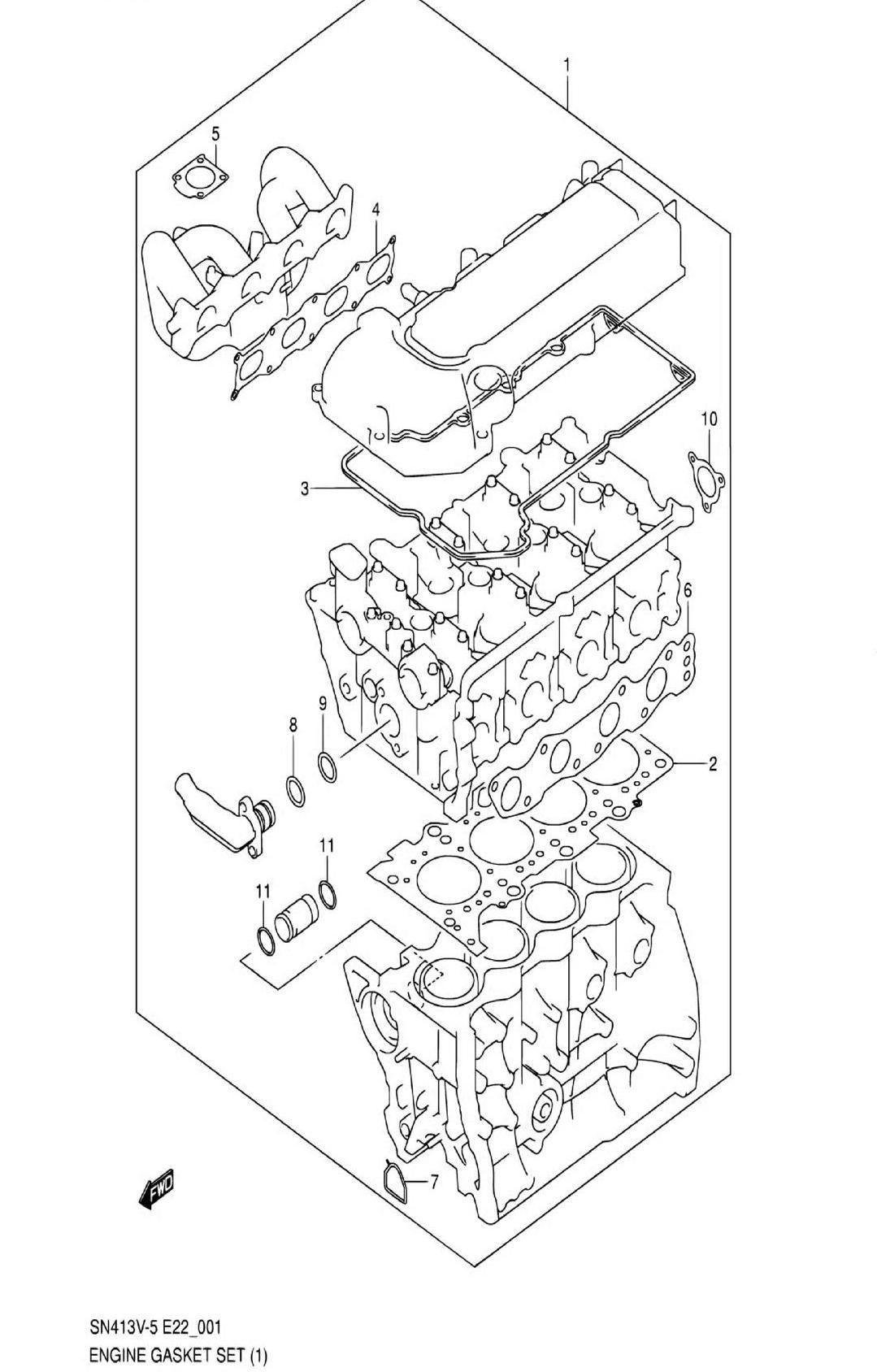 1 - Комплект прокладок двигателя (SN413V-5:W/VVT)