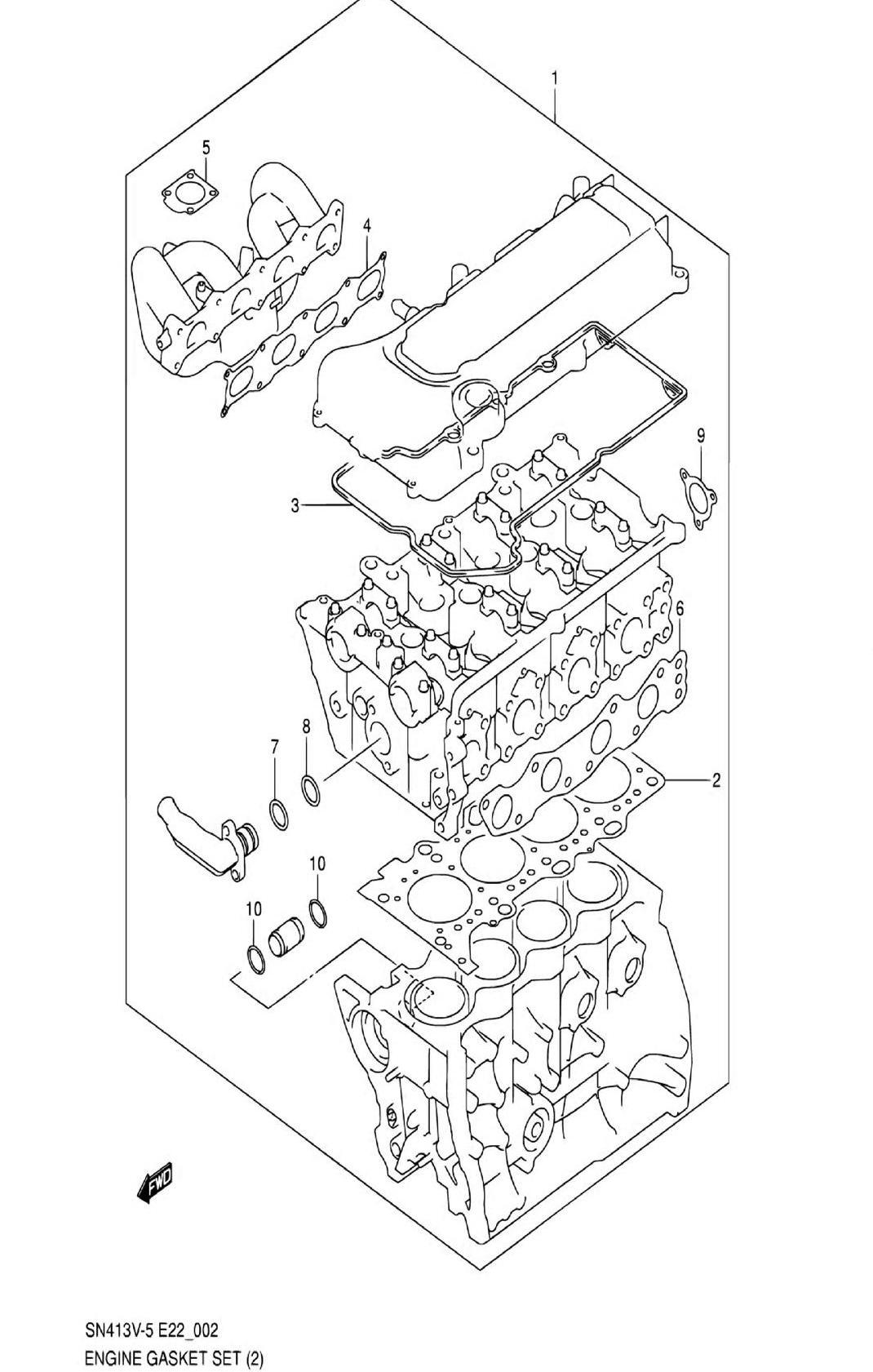 2 - Комплект прокладок двигателя (SN413V-9:N/VVT)