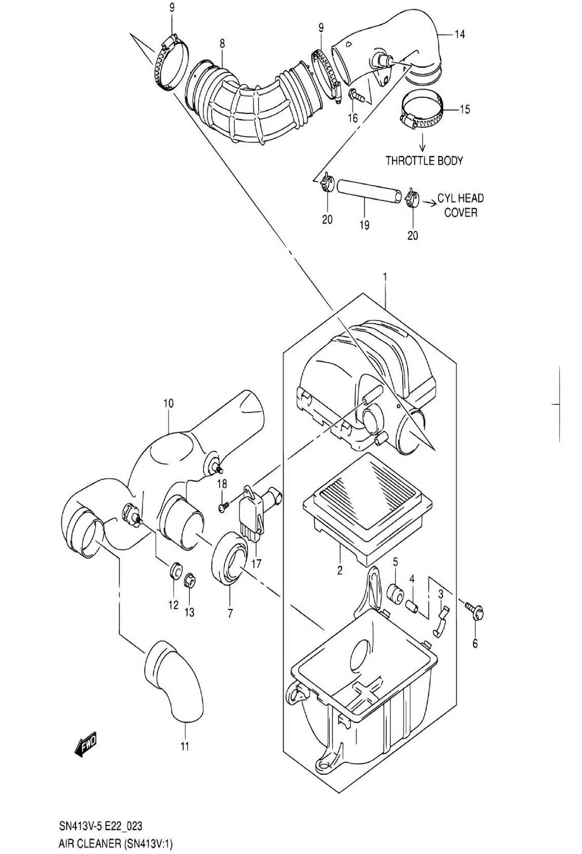 23 - Воздушный фильтр (SN413V-7:W/VVT)
