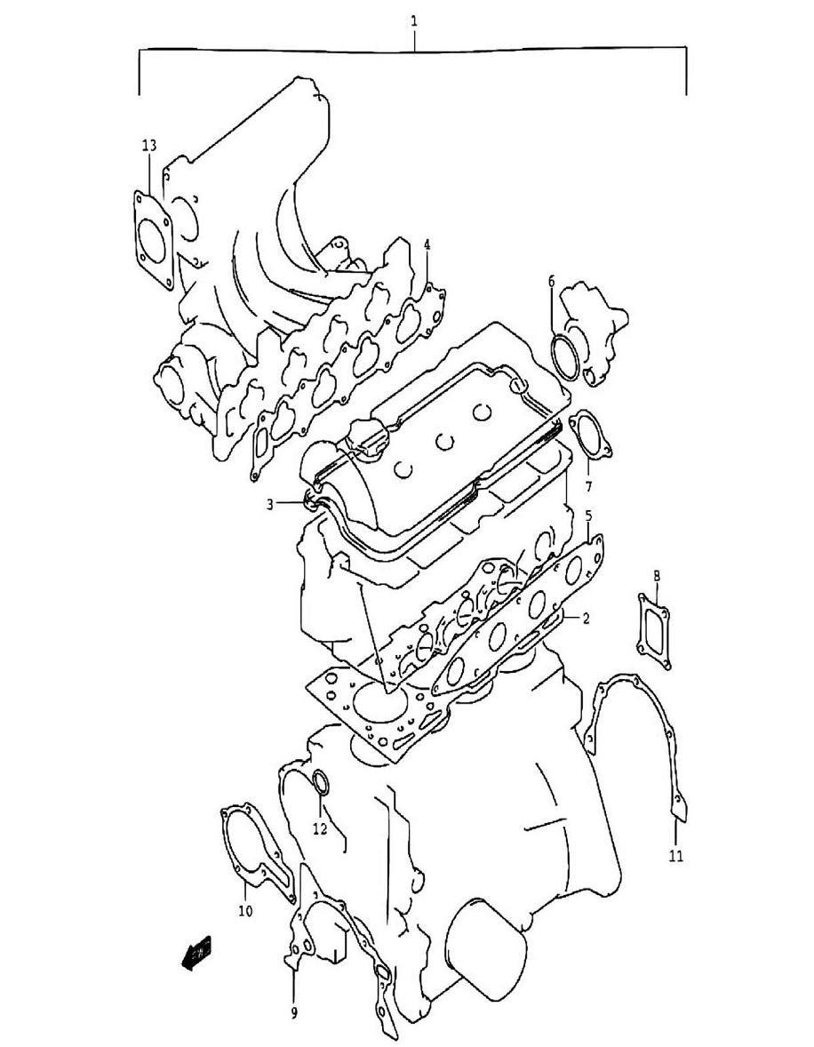 1 - Комплект прокладок двигателя (SQ416-2)