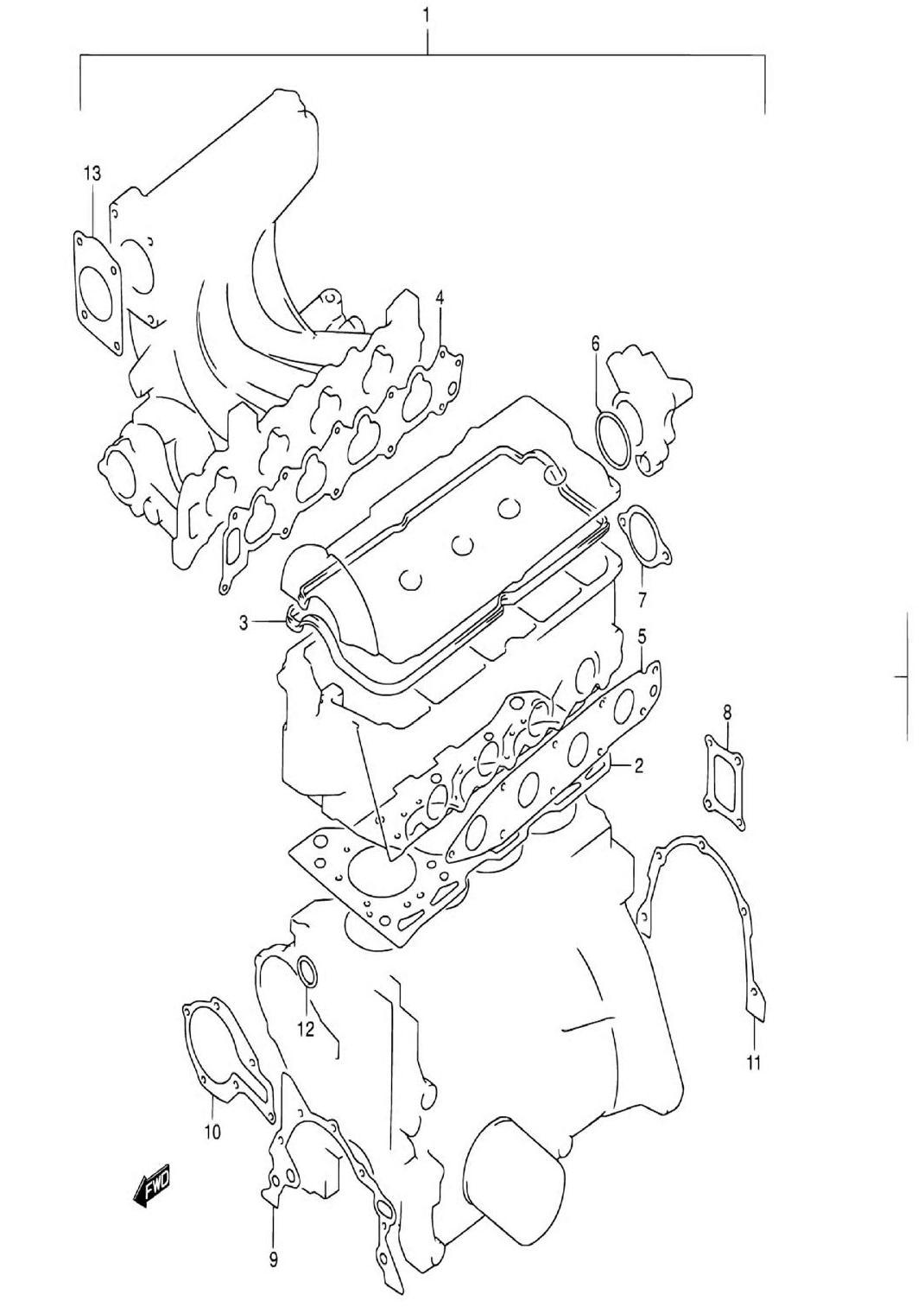 1 - Комплект прокладок двигателя (SQ416-3)