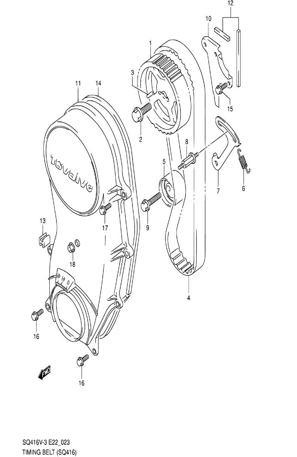 23 - Ремень ГРМ (SQ416-3)