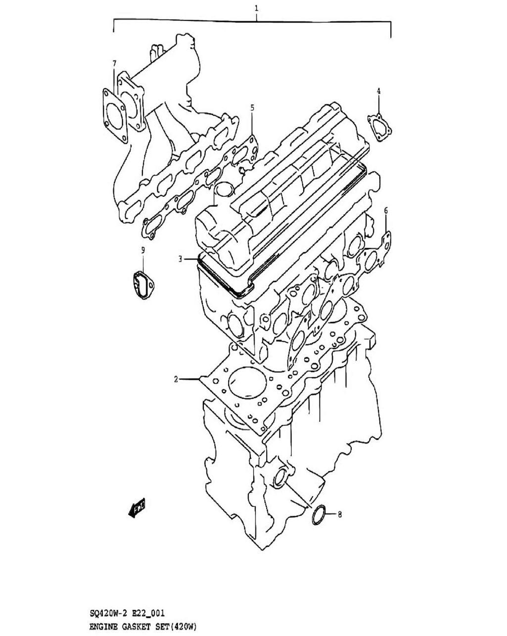 1 - Комплект прокладок двигателя (SQ420W)