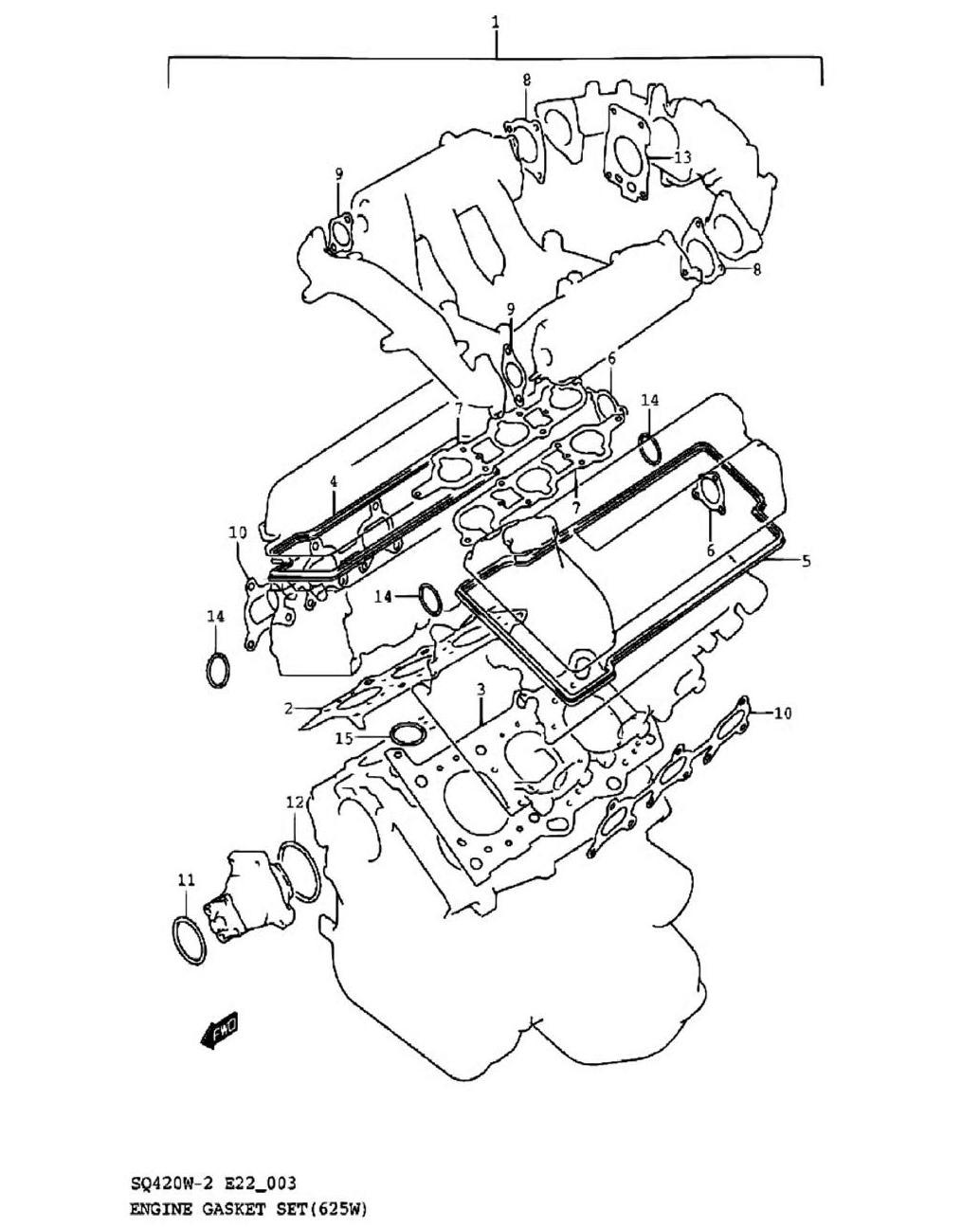 3-Комплект прокладок двигателя SQ625W
