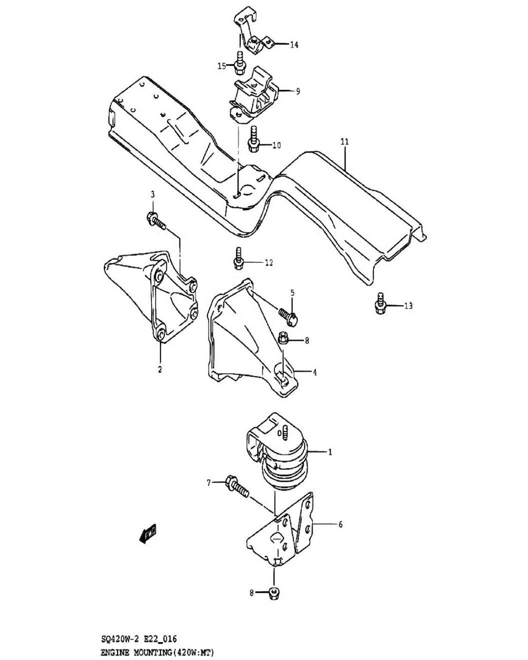 16 - Опора двигателя (SQ420W-2:MT)