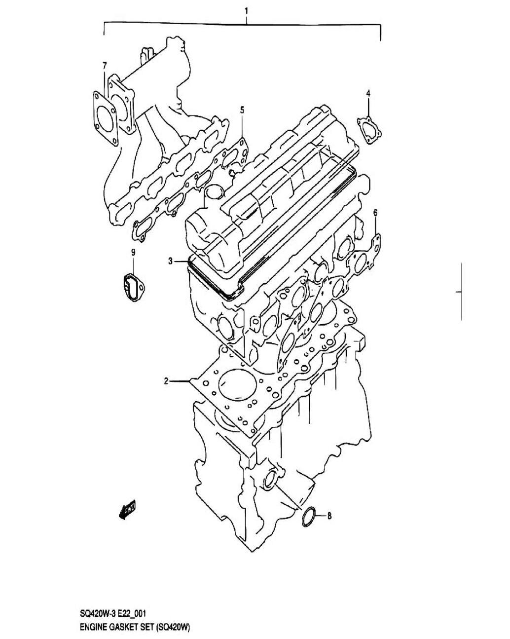 1 - Комплект прокладок двигателя (SQ420W-3)