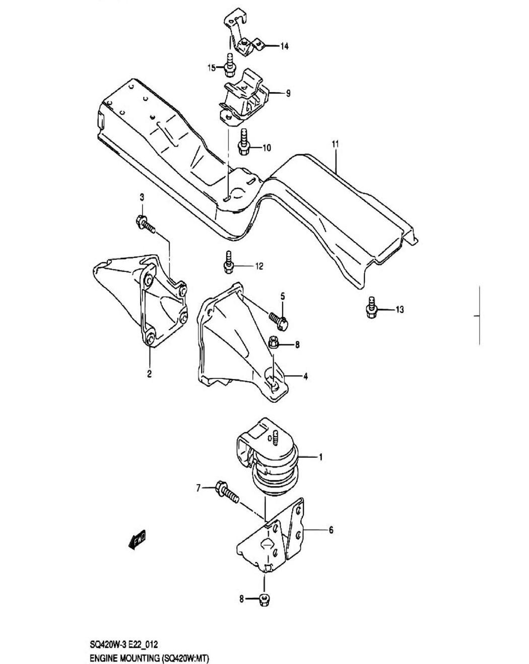 12 - Опора двигателя (SQ420W-3:MT)