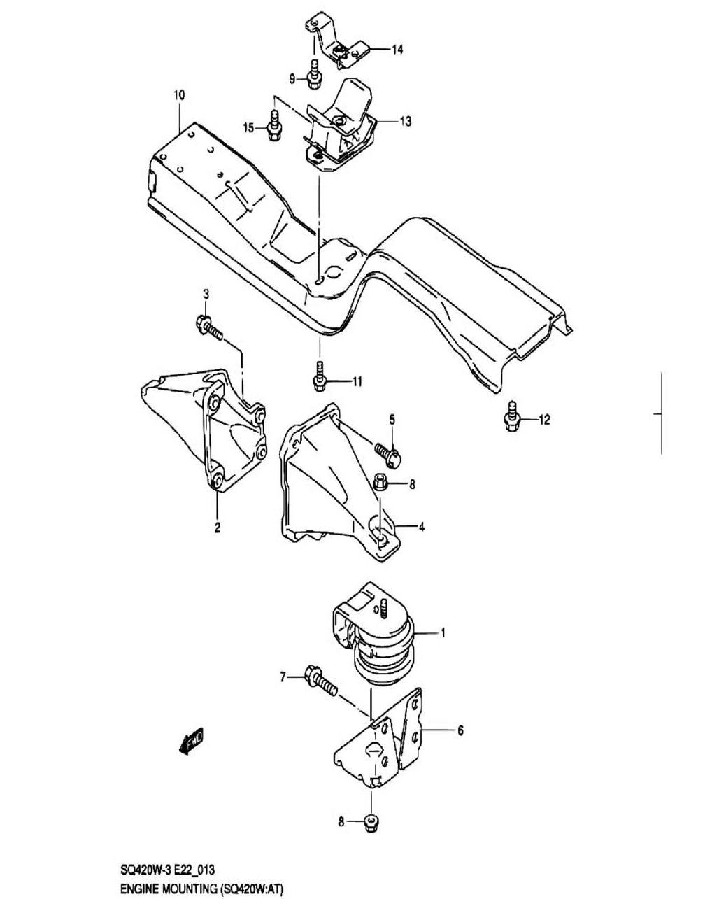 13 - Опора двигателя (SQ420W-3:AT)