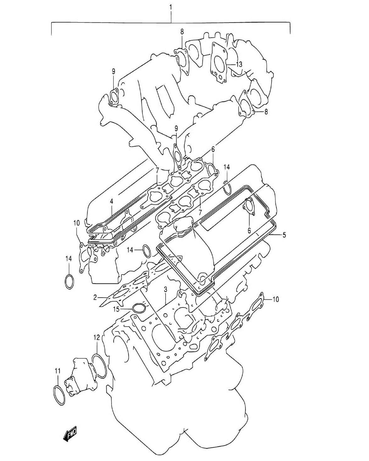 3 - Комплект прокладок двигателя (SQ625W)