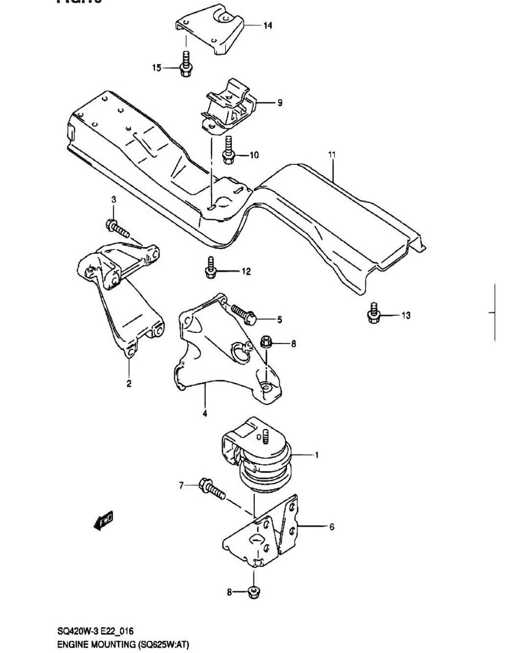 16 - Опора двигателя (SQ625W:AT)